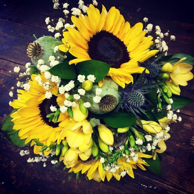 helianthus sunflower freesia yellowflowers papaver gyp gypsophila euryngium greenroomflowers weddingflowershellip