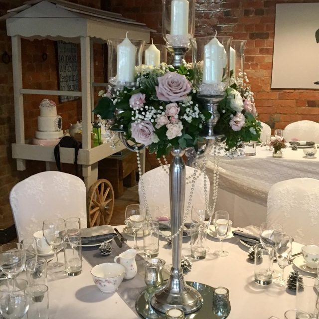 Dusky pink wedding greenroomflowers candelabras love weddingdecor weddingideas venuedecoration tableflowershellip